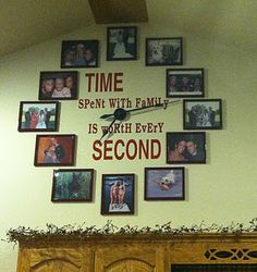 photo clock make on large canvas with space for simple photo frames at various or all number positions