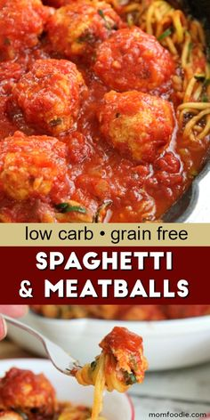 Low Carb Spaghetti and Meatballs : Grain-free, Gluten-free, Low-fat Recipe - Mom Foodie Gluten Free Recipes, Low Carb Recipes, Diet Recipes, Quick Recipes, Amazing Recipes, Recipies, Healthy Dinner Recipes, Healthy Snacks, Healthy Eats