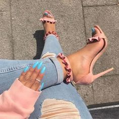 Image of New Design Ladies Silver Shimmer Ruffle Sandals Young Girl's Sweet Style Falbala Dress Shoes Pleated Thin High Heel Wedding Pump Sweet Style, Zapatos Shoes, Shoes Heels, Shoes Sneakers, Cute Shoes, Me Too Shoes, Pretty Shoes, Style Blogger, Runway Shoes