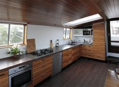 Contemporary Houseboat Interior.