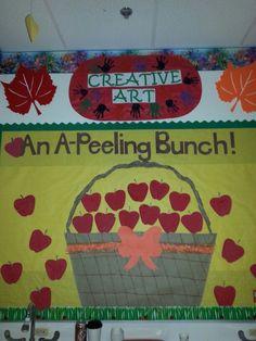 Apple Bulletin Board Ideas, Toddler Bulletin Boards, Toddler Classroom, Classroom Bulletin Boards, Classroom Projects, Fall Classroom Door, Apple Classroom, Classroom Setup, Art Classroom