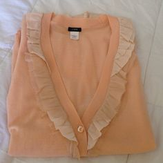 J crew  peach sweater size S merino wool 100% This sweater is a soft lightweight merino wool. It is in great condition J. Crew Sweaters Cardigans