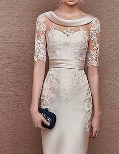 Elegant dresses - 2 Sleeves Scoop Elastic Satin Lace Mother of The Bride Dresses Elegant Lace Illusion Scoop Neck Half Sleeves Short Sheath Mother of the Bride Dress – Elegant dresses Mother Of Bride Outfits, Mothers Dresses, Mother Of Groom Dresses, Mother Bride Dress, Mother Of The Bride Clothes, Short Mothers Dress, Mother Of The Bride Dresses Vintage, Brides Mom Dress, Mother Of The Bride Fashion