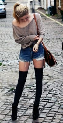 Black knee socks + denim shorts