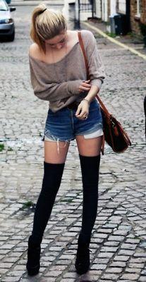 Black knee socks + denim shorts