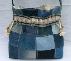 A pretty, casual and versatile patchwork bag made from upcycled denim with a strap that sits comfortably on the shoulder. $65.00 jean, shoulder bags, craft, denim patchwork bag, bolso, denim bag, upcycl denim, patchwork shoulder, patchwork bags