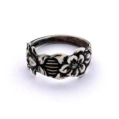Vintage Sterling Sliver Spoon Ring Flower Ring Bague by Inmmotion