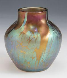 Loetz Art Nouveau Iridescent Glass Vase In Bronze Medici Décor - Austria   c.1900
