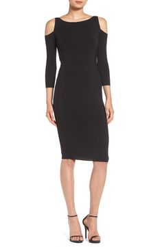 Adding the perfect little black dress to the collection with this sophisticated cold shoulder piece. It will pair perfect with sleek sandals or lace-up pumps and a statement necklace for a chic look.