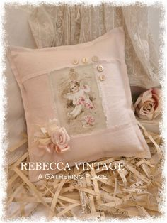 2015 Tattered Cherub Linen Pillow from REBECCA VINTAGE - A Gathering Place
