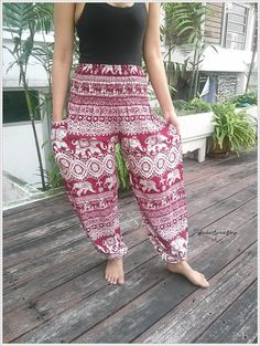 Red Elephant Yoga Pants Baggy Boho Comfy by TribalSpiritShop