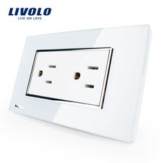 Livolo US Standard Power Socket, White Crystal Glass, Wall Powerpoints With Plug,VL-C3C2US-81