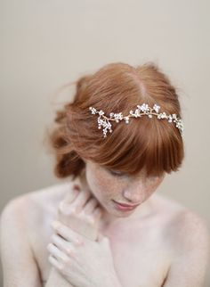 Opal blossoms crystal hair vine - Style #346 - Ready to Ship (2013, best sellers, hair adornments, hair vines, headbands, headpieces, ready to ship, twigs and honey, view all) | Headpieces | Twigs & Honey ®, LLC