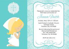Invitación primera comunión - Digital muchacha rezando 1 invitación comunión