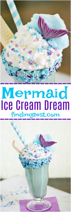 This Mermaid Ice Cream Dream Shake is the perfect dessert for everyday or a mermaid birthday party! Milkshake featuring a decorated rim, shimmering sprinkles, chocolate mermaid tail and cotton candy wave! Yummy Treats, Delicious Desserts, Sweet Treats, Dessert Recipes, Yummy Food, Milk Shakes, Frozen Desserts, Frozen Treats, Party Drinks
