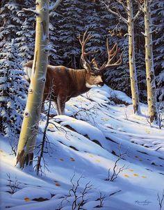 Animaux en peinture Mule Deer Hunting, Hunting Art, Wildlife Paintings, Wildlife Art, Deer Pictures, Deer Art, Western Art, Illustrations, Landscape Art