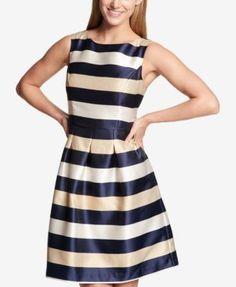 Tommy Hilfiger Striped Fit & Flare Dress - Blue 14