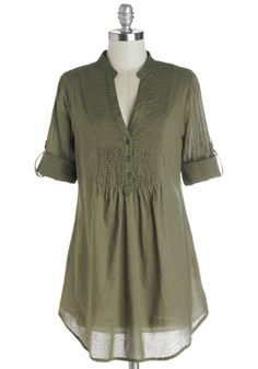 Back Road Ramble Top in Olive, #ModCloth