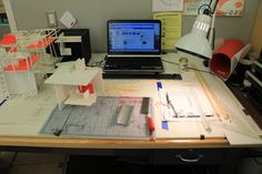 Architecture student work desk