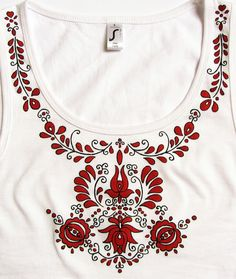 Items similar to HAND PAINTED hungarian folk art sleeveless top with red flowers (transylvanian nyárádmenti) from Hungary on Etsy Embroidery Neck Designs, Hand Work Embroidery, Embroidery Patterns, T Shirt Painting, Fabric Painting, Wrap Over Dress, Kutch Work Designs, Wreath Drawing, Hungarian Embroidery