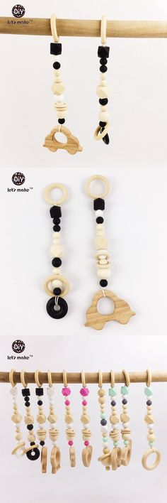 2pcs Baby Play Gym Hex/geometric Shape Silicone Beads Beech Wood Car Wooden Beads Cotton Rope Child Toys Baby Teether