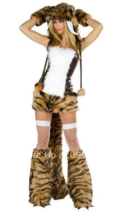 New arrive!!Free shipping fur sexy tiger cosplay,women halloween costumes,sexy fancy dress FS493 $39.89