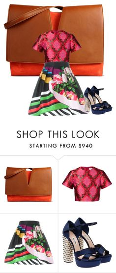 Love it all . Mary and miu miu. Skirt and top and heels and bag. by kohlanndesigns on Polyvore featuring Mary Katrantzou, Miu Miu and Jil Sander