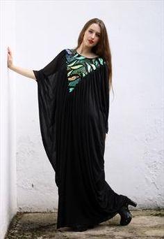 Vintage Sequin Black Dress UK 12