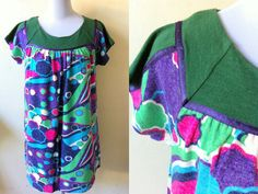 green printed A line dress (free size; plus size; maternity) by VintageHomage