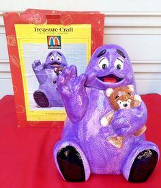 Vintage McDonald's Grimace & Teddy Bear Purple Cookie Jar Treasure Craft in Box #McDonalds