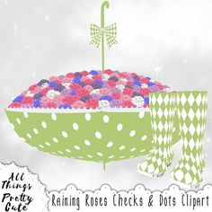 Spring Clipart Raining Roses Checks & Dots, commercial use clipart, red harlequin, blue harlequin, blue checkered, red checkered, polka dot Purple Roses, White Roses, Baby Shower Clipart, Harlequin Pattern, Pretty And Cute, Commercial, Shabby Chic, Polka Dots, Clip Art