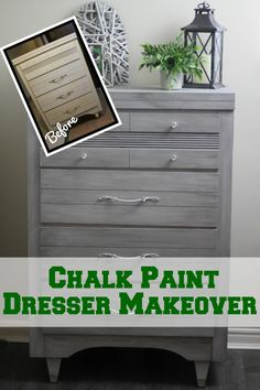Chalk paint dresser makeover~This is a full tutorial of my thrift store find transformed with chalk paint. Easy DIY!!