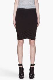 T BY ALEXANDER WANG Black Micro Modal Spandex Twist Skirt