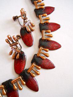 MATISSE Copper Necklace-Earrings Set Red/Black by RenaissanceFair