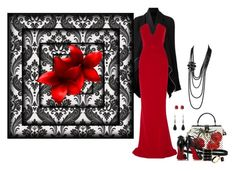 """""""Black and red"""" by nemesisktn ❤ liked on Polyvore featuring Rick Owens, Cushnie Et Ochs, Dolce&Gabbana, Christian Louboutin, Balmain, Ringly, Diane Von Furstenberg and Chanel"""