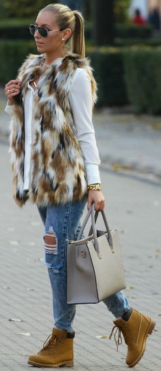 Faux Fur Vest On Basics Fall Street Style Inspo by Style and Blog