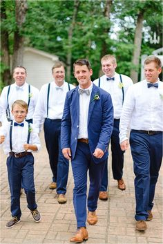 Groom and groomsmen, groom attire, mismatched groomsmen, navy blue groo Groomsmen Attire Suspenders, Navy Blue Groomsmen, Mismatched Groomsmen, Rustic Wedding Groomsmen, Navy Bridesmaid Dresses, Groom Attire, Groom And Groomsmen, Wedding Suits, Wedding Attire