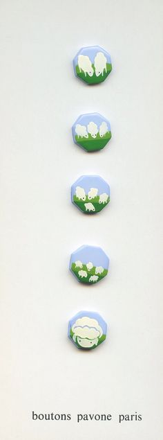Painted by Hand Flock of Sheep Set of Five by baublesbuttons, $150.00