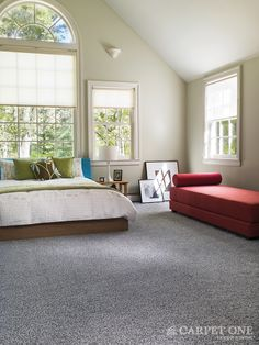 Gray is a great neutral in a modern space. Carpet from the Bigelow Stainmaster collection. Available at Carpet One Floor & Home.