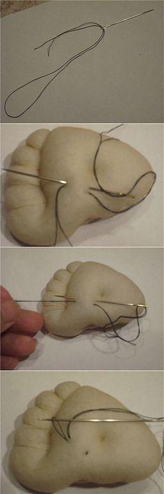 Крепление нити при утяжке (пошив тряпичных кукол).   Куклы   Постила