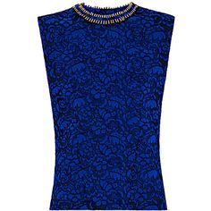 Sleeveless lace top ❤ liked on Polyvore featuring tops, embellished collar top, stretch lace top, stretchy tops, blue tube top and lace embellished top