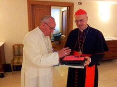 """May 3 -- The 2013 Giro d'Italia begins today! The leader of the cycling event gets to wear the """"maglia rosa"""" (pink jersey). Cardinal Bertone asked Pope Francis to bless this year's jersey earlier this week! https://www.facebook.com/photo.php?fbid=604034472941494=a.496953866982889.120712.496909843653958=1"""