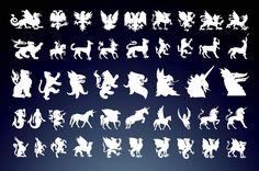 ancient,animals,centaur,clip art,creature,dragons,god,griffins,herald,horse,lion,mythical,sign,silhouettes,siren,symbol,unicorn