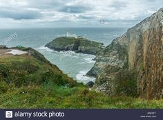 Download this stock image: A view of South Stack Lighthouse on a stormy August…