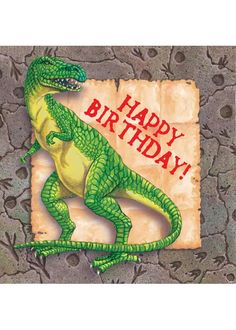 """Add our Diggin' For Dinos Birthday Luncheon Napkins to your table decorations! Each napkin features a dinosaur fossil border with a green dinosaur and the message """"Happy Birthday"""" in the center. Measures x Includes 16 - 3 ply paper napkins per package. Birthday Lunch, Dinosaur Birthday Party, Boy Birthday, Happy Birthday, Sister Birthday Quotes Funny, Christian Birthday Wishes, Dinosaur Toys For Kids, Dinosaur Party Supplies, Birthday Themes For Boys"""