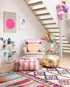 Rug layering & colorful poufs - Baba Souk for girls' bedroom Moroccan Decor Living Room, Living Room Decor, Bedroom Decor, Moroccan Rugs, Moroccan Bedroom, Moroccan Interiors, Bedroom Rugs, Bedroom Lighting, Modern Bedroom