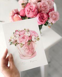 La imagen puede contener: flor y planta Watercolor Drawing, Watercolor Cards, Watercolor Illustration, Watercolor Flowers, Painting & Drawing, Gift Drawing, Botanical Art, Nursery Art, Cute Drawings