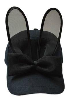 ROMWE | Rabbit Ear Shaped Bowknot Embellished Cap, The Latest Street Fashion