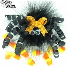 Custom Boutique Clip Hair Bow Halloween Spider by DoodlesBowtique