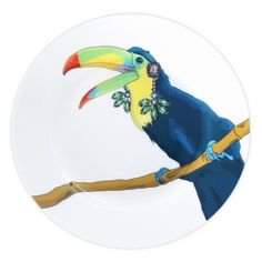 Vibrant Toucan Illustration Print Dinner Plate by Perky, the perfect gift for Explore more unique gifts in our curated marketplace. Rhyming Slang, Flamingo Print, Side Plates, Great British, Dinner Plates, Digital Prints, Exotic, Vibrant, Birds